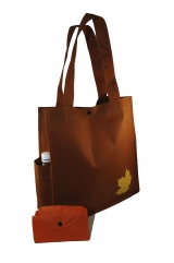 Unique Maple Leaf foldable bag with 2 side pockets