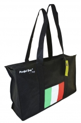 Casual Sport Bag with full length zipper & internal pocket printed with Italian flag c/w base